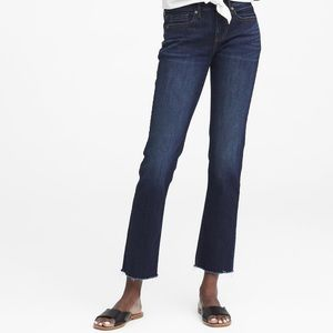 Banana Republic Raw Hem Jeans Hi Rise Straight Leg